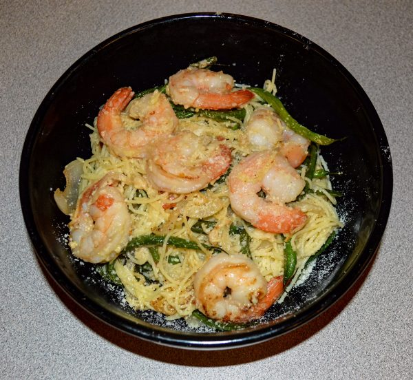 This version of Ozzie's Shrimp Scampi include green beans mixed in with the angel hair pasta.
