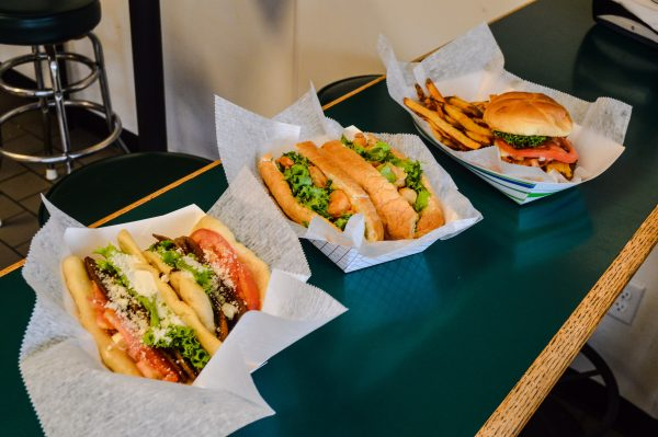 "The gyro, the ""Louisiana Po Boy,"" and the ""Jack Bubba"" burger are available each day and evening at Stadiums."