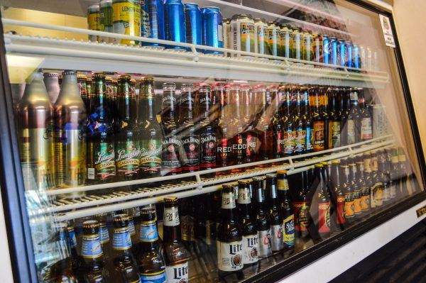 Many different beverages are available, including legal, alcoholic beers.