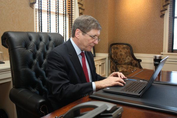President Stephen Greiner at desk (1)