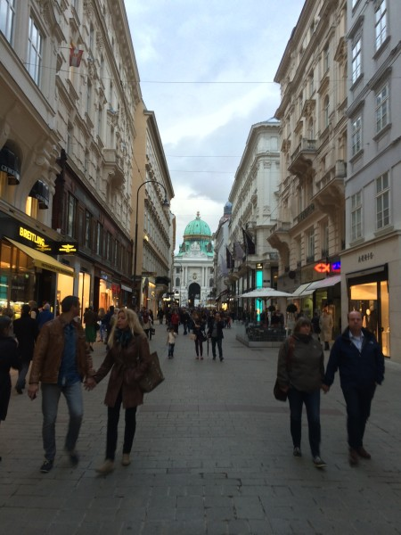 Vienna's central shopping district encourages pedestrians to walk from shop to shop as opposed to driving.