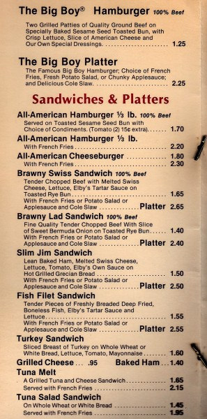 The sandwich prices, circa 1982.