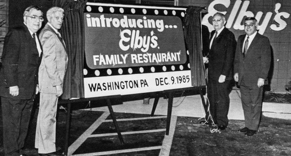 It was a rare occasion when Mike Boury (far right) was not in his commissary kitchen, but he joined George, Tom Johnson, and Ellis for the opening of the Elby's Big Boy in Washington, Pa.