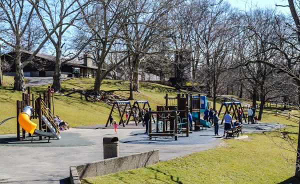 The playground near the Hess Shelter was very crowded Saturday thanks to temperatures in the 60s.