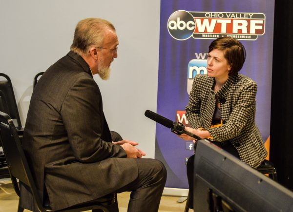 "Glynis Board with West Virginia Public Broadcasting interviewed Scott Rotruck before the taping of ""Shale Valley."""