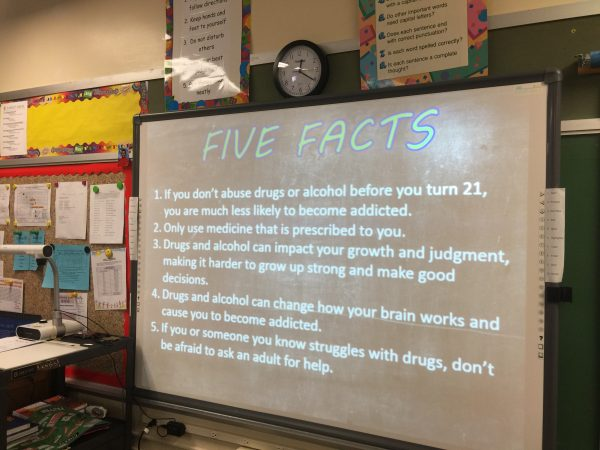 Ihlenfeld's discussions with fifth graders last week focused on the scientific facts concerning legal and illegal drugs.