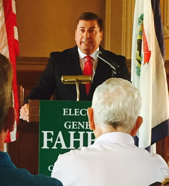 Fahey, whose father was Wheeling's mayor in the 1970s, announced his candidacy in the third-floor courtroom of the West Virginia Independence Hall.