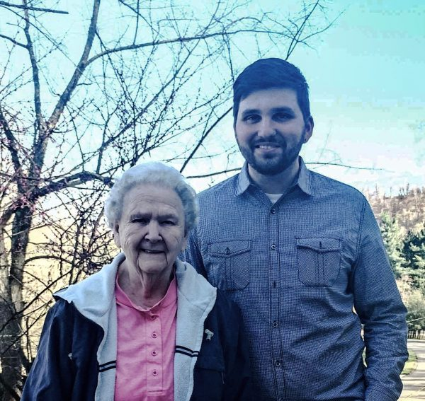 Ward 3 council candidate Brian Wilson with his Grandma Joan, a lifelong resident of East Wheeling.