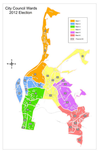 The city of Wheeling's current ward map.