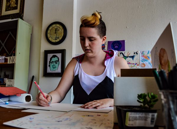 Carney often can be found working at her studio.