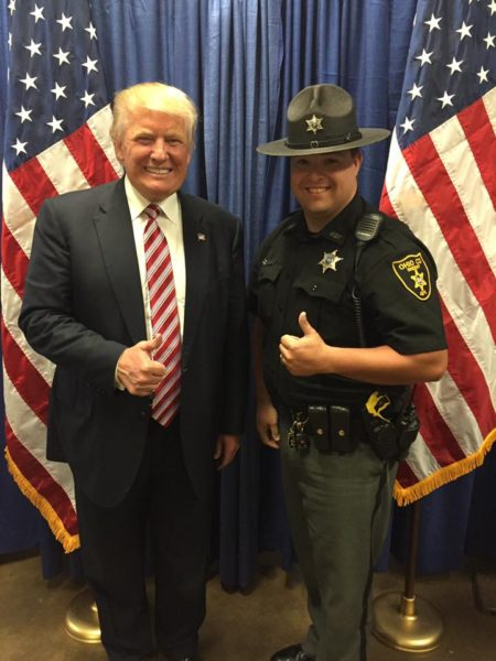 Trump with Ohio County Sheriff's Deputy GJ Costello.