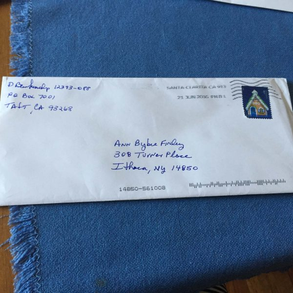 Bybee-Finley returned from vacation last month to find this letter sent from the Taft Correctional Institution in California.