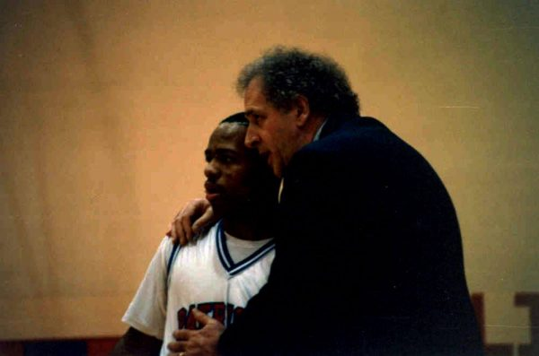 Former player Shayne Saunders takes in the guidance from his head coach during the 1992 season.