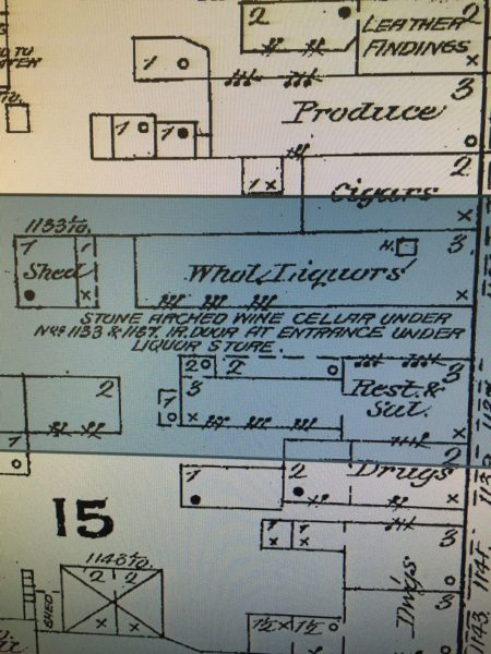 This historic map displays the presence of the cellar beneath the Welty liquor store.