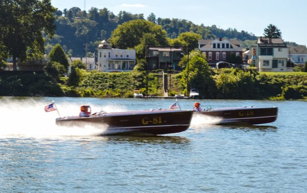 Many different styles of vintage raceboats were on display this past weekend in downtown Wheeling.