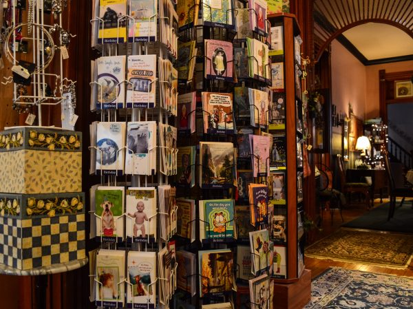 An impressive greeting card selection can be found inside the Eckhart House.