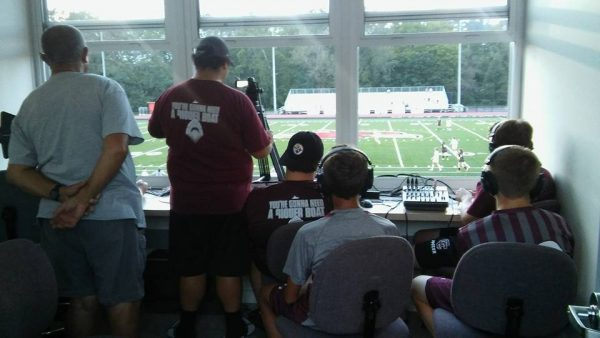 The students of Wheeling Central's broadcasting program fill a press box for home football games on the campus of Wheeling Jesuit University.
