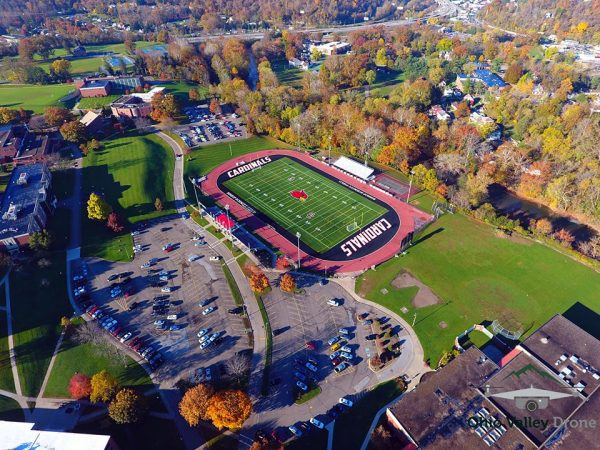 Broadwater snapped this shot high above the campus of Wheeling Jesuit University.