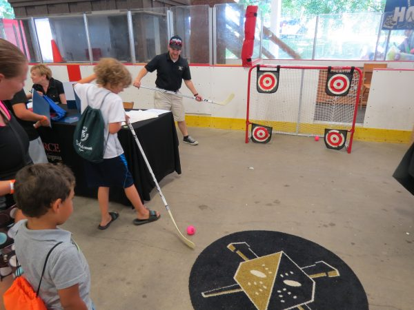 Utilizing Wheeling Park's indoor skating rink, the Wheeling Nailers give participants a chance to play hockey.