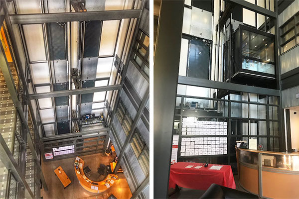 The exposed elevator shaft at Orrick