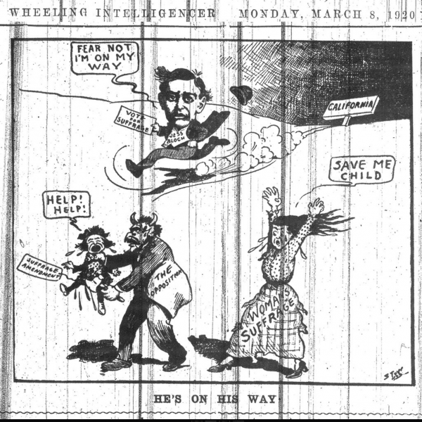 Editorial cartoon showing Jesse Bloch on his way to West Virginia
